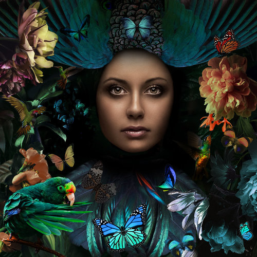 Glass painting 80x80 cm Jungle woman