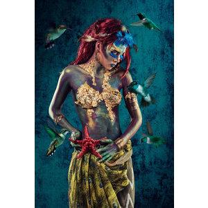 Glasschilderij Blue woman 2 80x120cm.