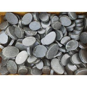 Zierblöcke oval flach schwarz-grau