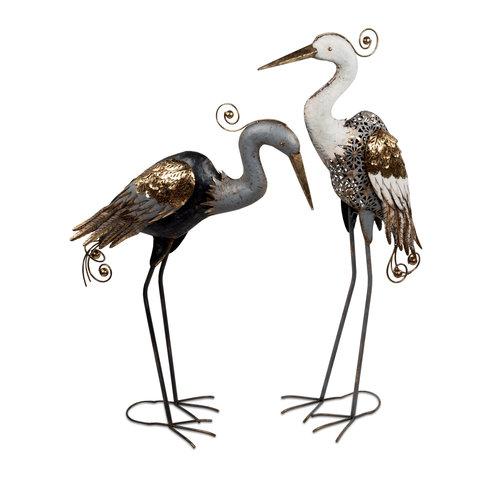 Metalen figuur set reigers 104cm zwart wit goud