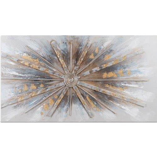 Schilderij canvas straal uit het midden 100x50cm