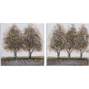 schilderij tweeluik canvas Vijf  Bomen 60x30cm