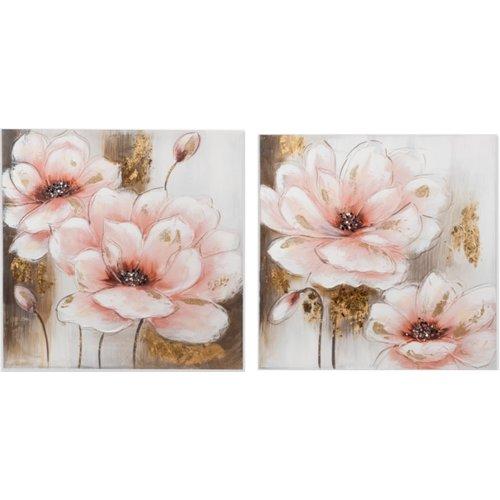 Schilderij tweeluik canvas Rozen 120x60cm