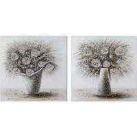 Schilderij canvas tweeluik Bloemen in vazen 160x80cm