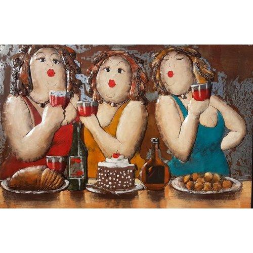 Eliassen 3D metaalschilderij 3 dikke dames 80x120cm
