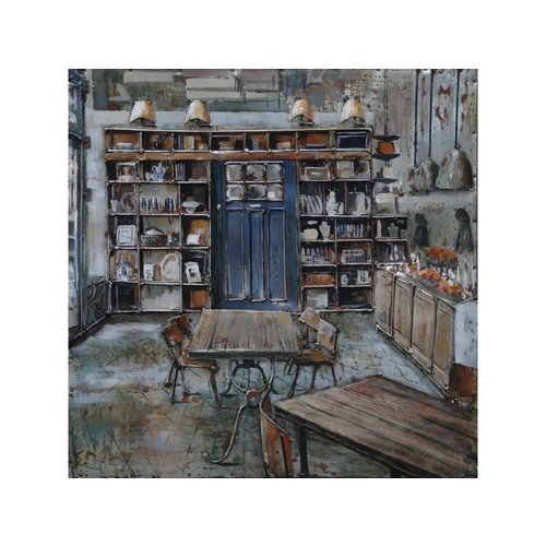 Painting 3d metal Bistro homely 60x60cm