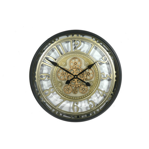 Open wall clock with gears 55cm