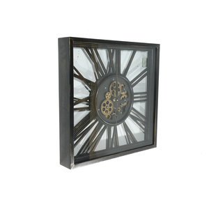 Open wall clock with gears square 53cm