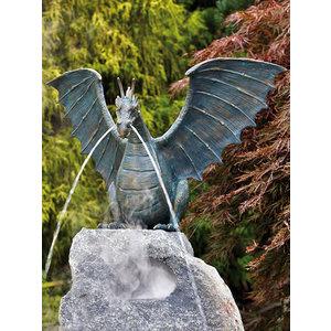 Dragon on rock bronze spray figure XXL