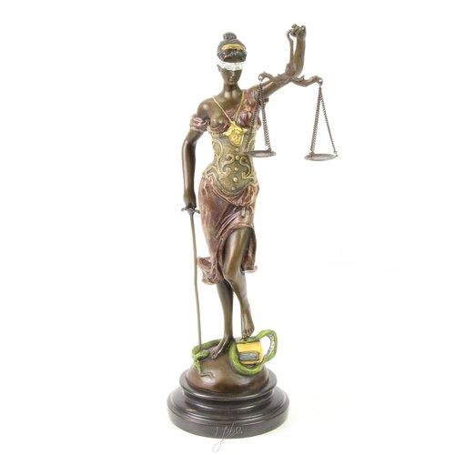 Beeld brons Vrouwe Justitia veelkleurig 40cm