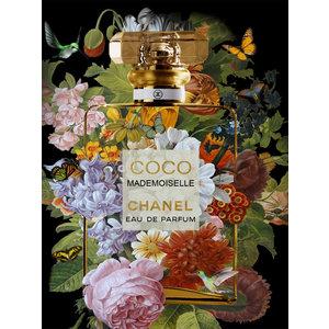 Glasschilderij Coco flesje met bloemen 60x80cm met goudfolie