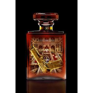 Glasschilderij  Chanel rood 60x80cm met goudfolie