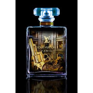 Glasschilderij  Chanel blauw 60x80cm met goudfolie