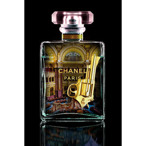 Glasschilderij  Chanel Lila 60x80cm met goudfolie