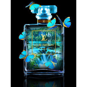 Glasschilderij Louis Vuitton met vlinders blauw 60x80cm met goudfolie
