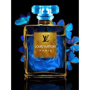 Glasschilderij Louis Vuitton parfumfles roos in fles blauw 60x80cm met goudfolie