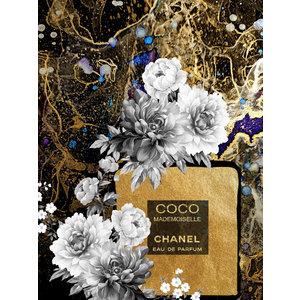 Glasschilderij  Chanel flesje goud 60x80cm met goudfolie