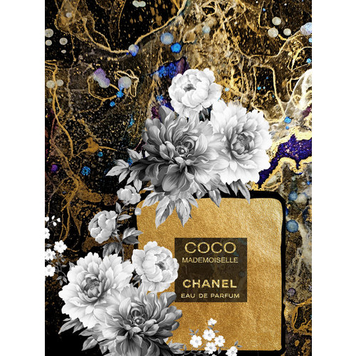 Glass painting Chanel bottle gold 60x80cm with gold foil