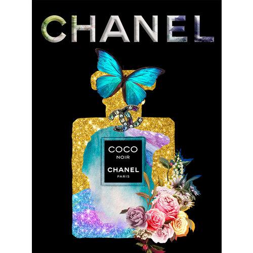 Glass painting Chanel bottle Coco noir 60x80cm