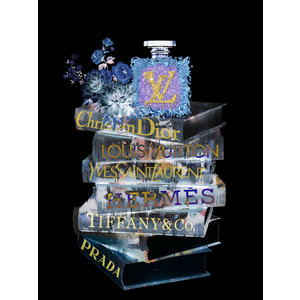 Glass painting Louis Vuitton bottle on books 60x80cm