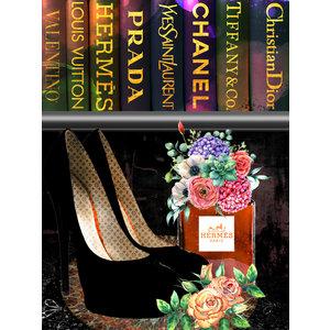 Glasschilderij schoenen onder boeken Hermes 60x80cm