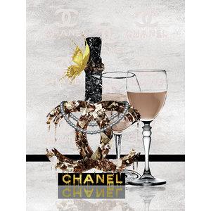 Glasschilderij Chanel ketting en glazen 60x80cm
