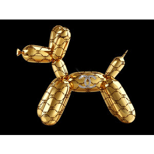 Glasschilderij Chanel Ballonnen hond links 60x80cm