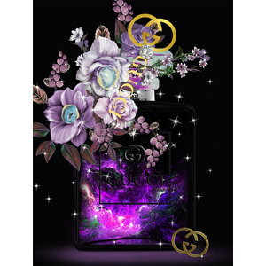 Glass painting Gucci bag purple 60x80cm