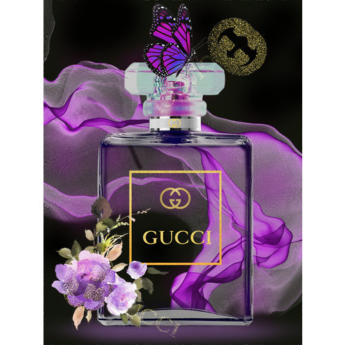 Glass painting Gucci perfume bottle clear 60x80cm