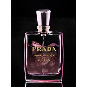 Glasschilderij Prada parfum fles roze 60x80cm