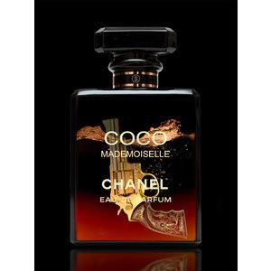 Glasschilderij Chanel parfumflesje rood 60x80cm