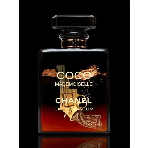 Glass painting Chanel perfume bottle red 60x80cm