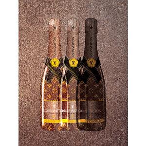 Glasschilderij Flessen Louis Vuitton 60x80cm