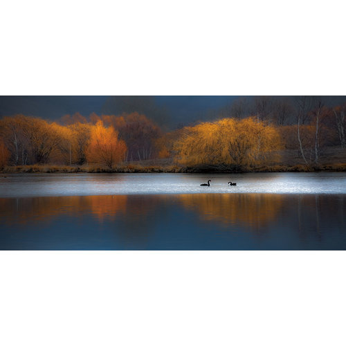 Glass painting Lake in the evening 80x160cm