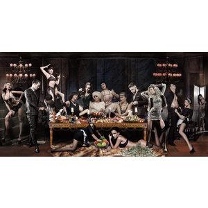 Glasmalerei Orgie 80x160cm