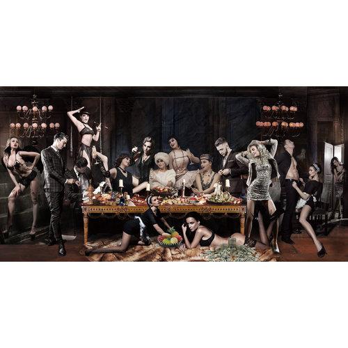 Glasschilderij Orgie 80x160cm