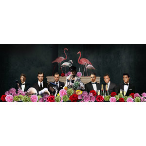 Glass painting Celebrities behind flowers 80x160cm