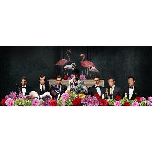 Glasschilderij Beroemdheden achter bloemen 80x160cm