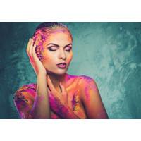 Glasschilderij Vrouw roze/paars 110x160cm