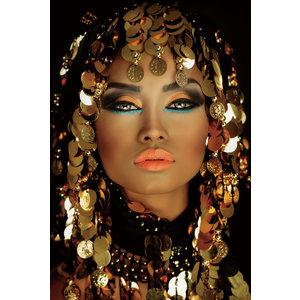 Glasschilderij Vrouwenhoofd met munten 110x160cm