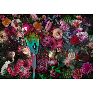 Glass painting Parrot on flowers 110x160cm