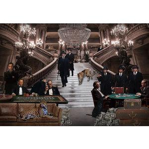 Glasmalerei Prominente im Casino 110x160cm