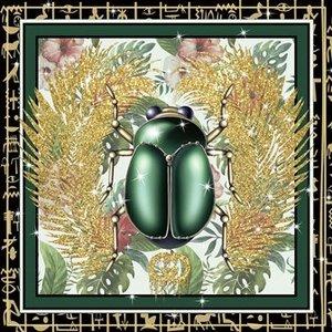 Glasschilderij Groene kever 80x80cm.