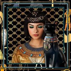 Glasschilderij Farao kat 80x80cm.