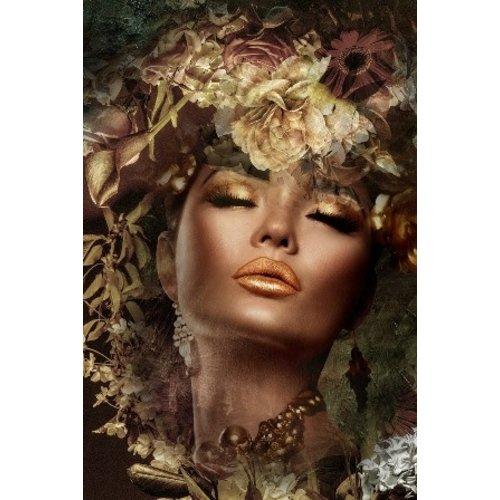Glasschilderij Gouden vrouw 80x120cm.