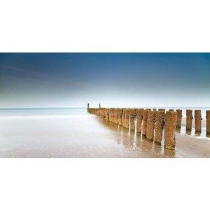 Glass painting Beach posts 80x160cm