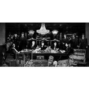 Glass painting luxury casino black and white 80x160cm