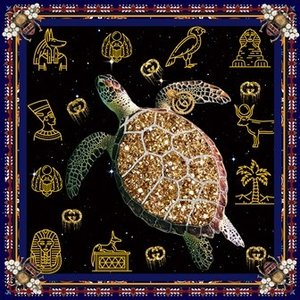 Glass painting Turtle 100x100cm.