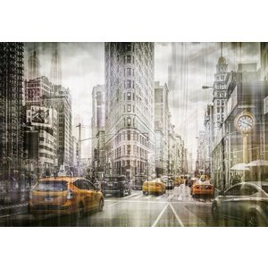 Glass painting Taxis in the city 110x160cm.
