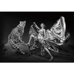 Glasschilderij Vrouw met panther 110x160cm.